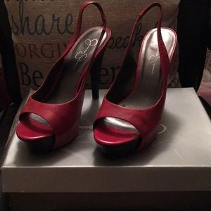 Pretty Red peep toe platform heels